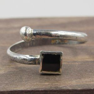 Size 6 Sterling Rustic Square Black Inlay Band